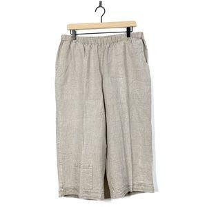 Flax Linen Beige Cropped Wide Leg Pants Size Med